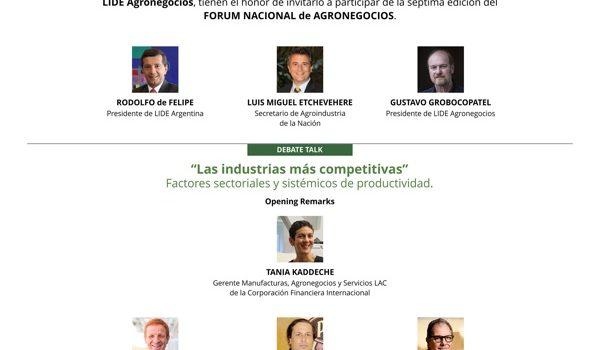 El Jueves 18 De Octubre, LIDE Argentina Llevará A Cabo El VII Fórum Nacional De Agronegocios
